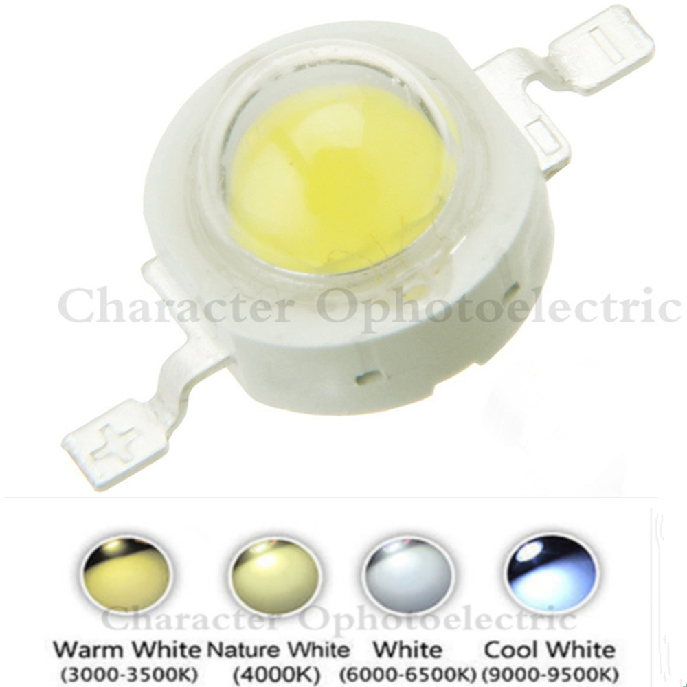 Lot 10pcs 50pcs 100pcs  1W 3W White Warm Cold 200~260LM LED CHIP Bulb Light Lamp 3000k 4500k 10000k 20000k 30000k