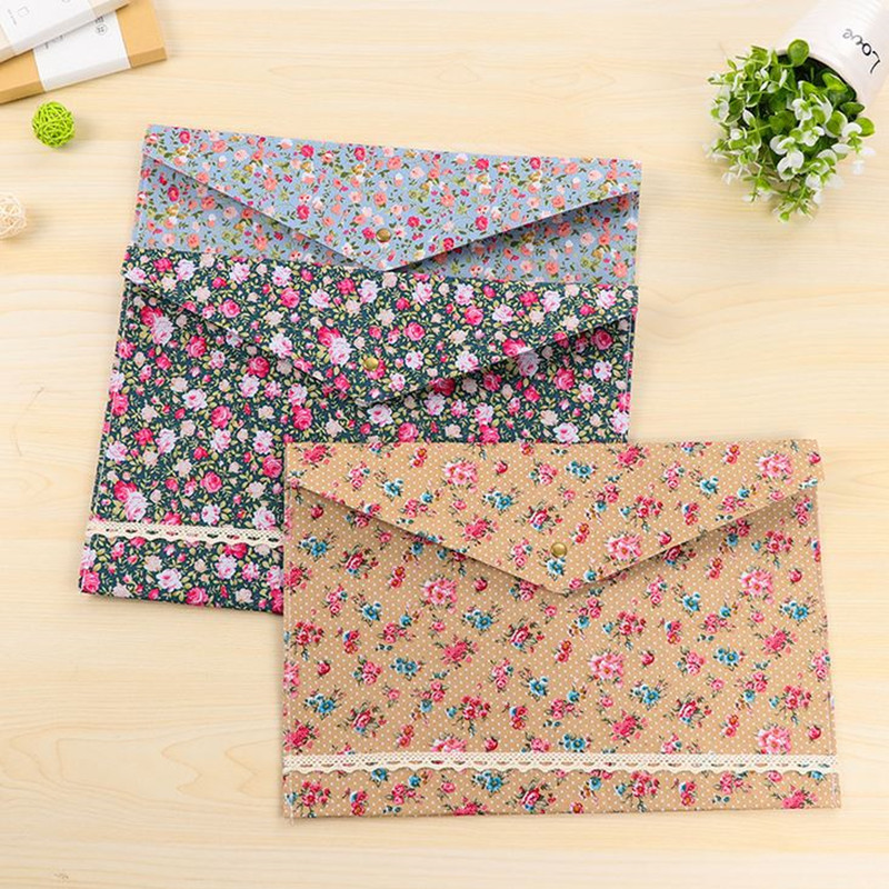 Coloffice 1PC Stationery File Bag Vintage Dots Flower Face Series PVC A4 Document File Folder Filing Production School Office