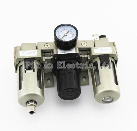 AC3000-03 3/8 Pneumatic FRL Air Filter Regulator Combination AF3000 + AR3000 + AL3000 Source Treatment Unit epman universal 3 aluminium air filter turbo intake intercooler piping cold pipe ep af1022 af