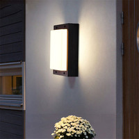 Thrisdar 15w Waterproof LED Wall Light Square Outdoor Garden Patio Porch Lamps Hotel Corridor Balcony Exterior Wall Light