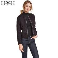 HYH HAIYIHUI Women Jacket Solid Black Streetwear Zipper Basic Suede Jacket Coat Chic Outerwear Autumn Winter Slim Short Jackets