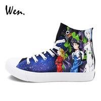 Homens Mulheres Tênis Esportivos Wen Design Personalizado Neon Genesis Evangelion Anime Sapatos Pintados à mão Preto Plimsolls Sapatas de Lona Plana