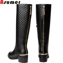 2016 new fashion genuine leather boots high heels woman knee high boots fur winter snow women motorcycle boots(China)