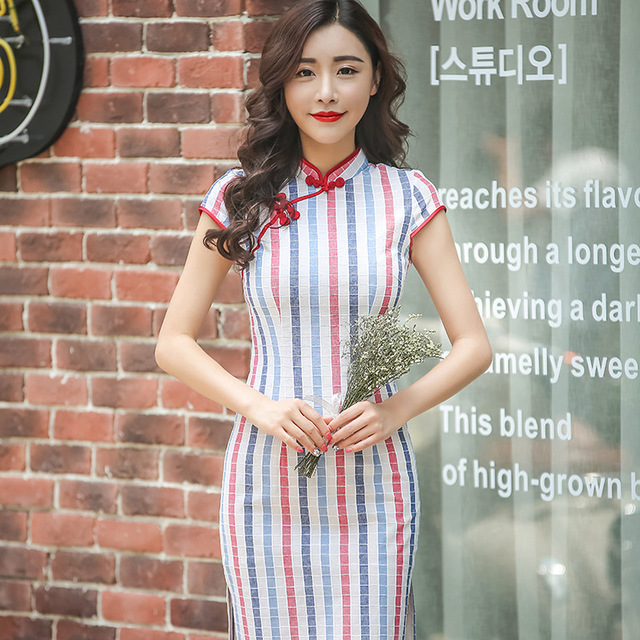 Hot Traditional Chinese Dress Colorful Stripe Cheongsam Cotton Evening  Dress Short Sleeve Qipao Dress Chinese Clothing Store 7b1c7700b3ec