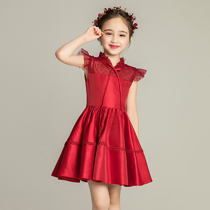 First Holy Communion   Dresses   For   Girls   Burgundy Lace   Flower     Girl     Dress   Above Knee Cute Evening Gowns Kids Brithday Banquet