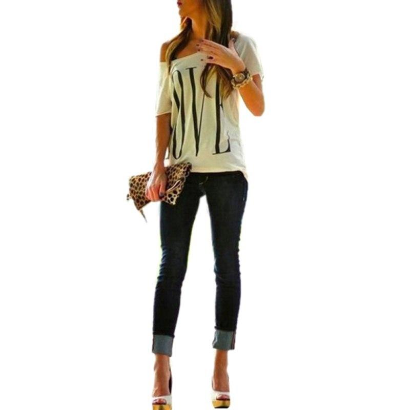 Korean Fashion Design Women Loose Off Cotton Shoulder Tops Letter T-shirt Short Sleeve Crew Neck S-XL Ladies Casual Hot
