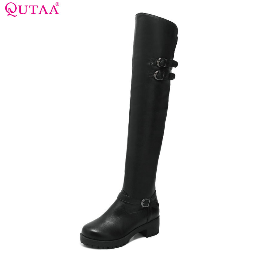 QUTAA 2018 Women Over The Knee High Boots Fashion Square High Heel Round Toe Pu Leather Westrn Style Women Boots Size 34-43 qutaa 2017 women over the knee high boots all match pointed toe high quality thin high heel pointed toe women boots size 34 43