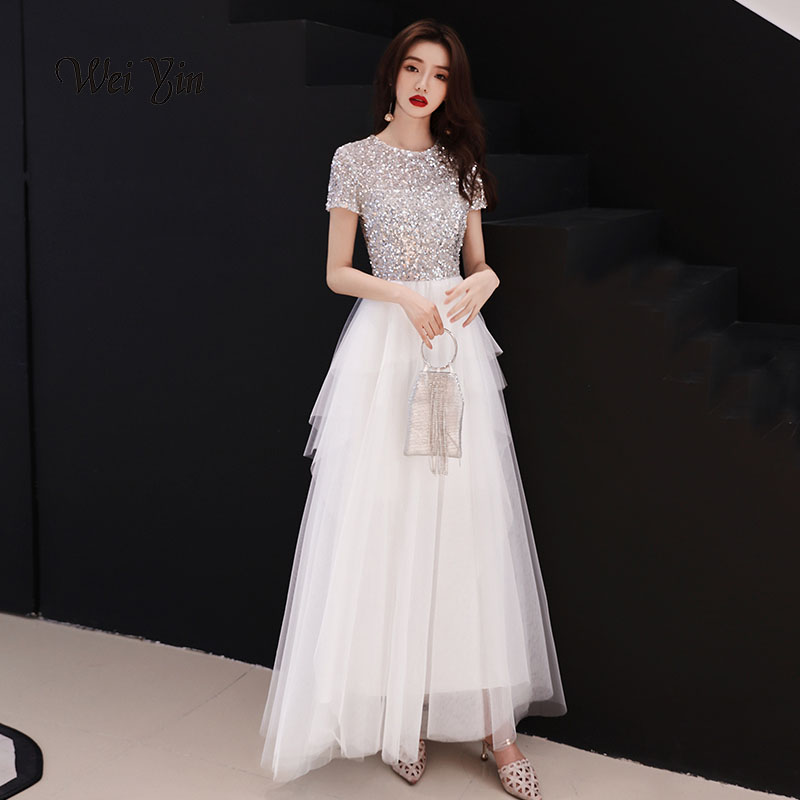 Weiyin Sequins Arabic Long Evening Dress With Cape O Neck Off Shoulder Dubai Prom Dresses 2019 Moroccan Kaftans Gown-WY720