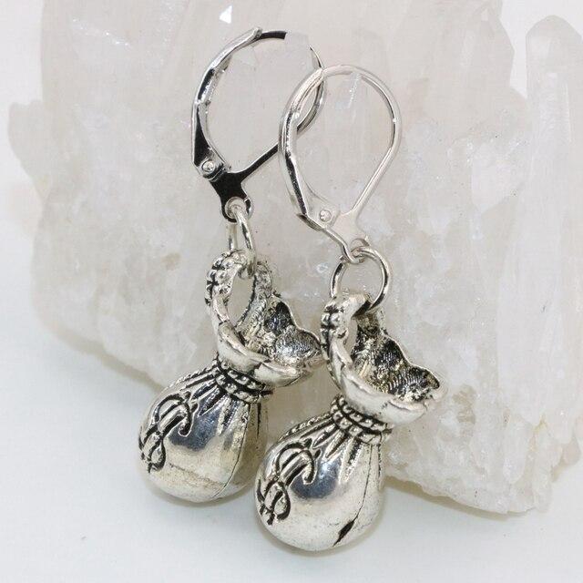 Diy drop earring Tibet silver-color money bag shape 15*17mm high quality dangle earrings for women lucky gifts fashion B2670