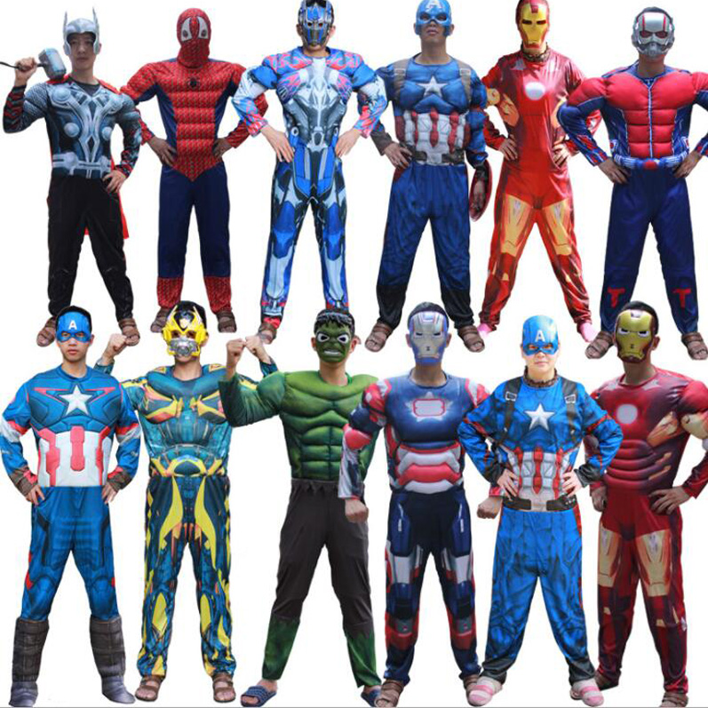 Superhero Batman Ironman Antman adults Muscle Jumpsuits Mask Avengers Superman Spiderman Captain Onesies mens Costume 2821