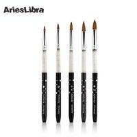 100 Kolinsky Sable Acrylic Brush 5pcs SET Size 2 4 6 8 10 Acrylic Brush Black