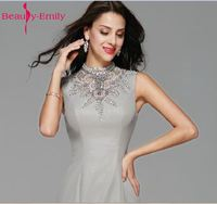 Beauty Emily Grey Elegant Mother of The Bride Dresses 2018 Mermai Floor Length Wedding Party Prom Dresses vestido de noite