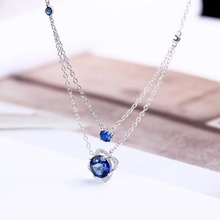 цена gemstone jewelry wholesale classic 925 sterling silver natural blue topaz charm necklace pendant for female онлайн в 2017 году