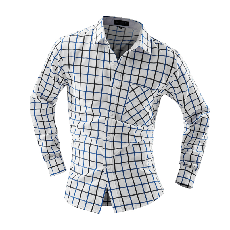 Camisa Masculina 슬림 패션 남성 셔츠 2018 새로운 브랜드 캐주얼 긴 소매 슈 옴므 남성 고품질 격자 무늬 드레스 셔츠 YJ