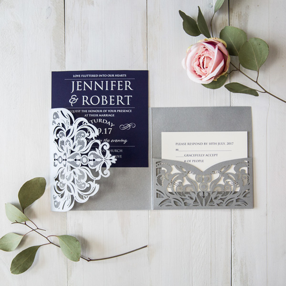 Us 12 8 10set 4 Color Design Blank Print Wedding Invitation Set Pocket Type Invite Cards Laser Cut Invitations With Envelopes In