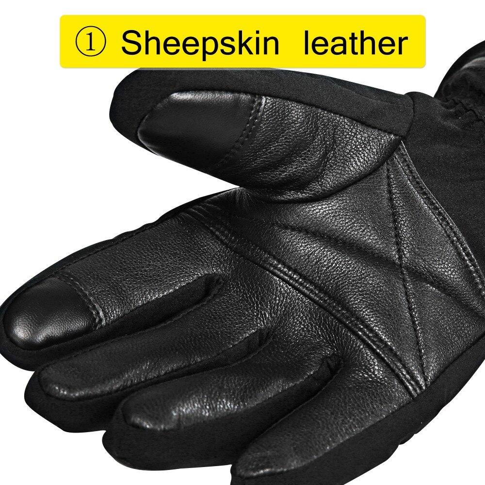 Guantes de esquí de invierno con batería eléctrica de calor SHGS15, guantes de pesca de esquí de invierno, guantes de cuero de 3 niveles para hombres y mujeres DHL - 3