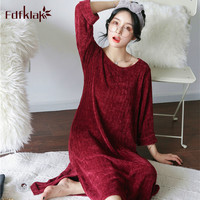 Fdfklak Autumn winter nightgown women long sleeve cotton blend nightdress women's sleepwear dress warm nightshirt night gown