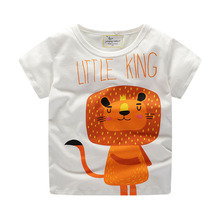 2019 new Kids clothes cotton Tops baby boy children clothing short-sleeved T-shirt cartoon lion print round neck animal Tees