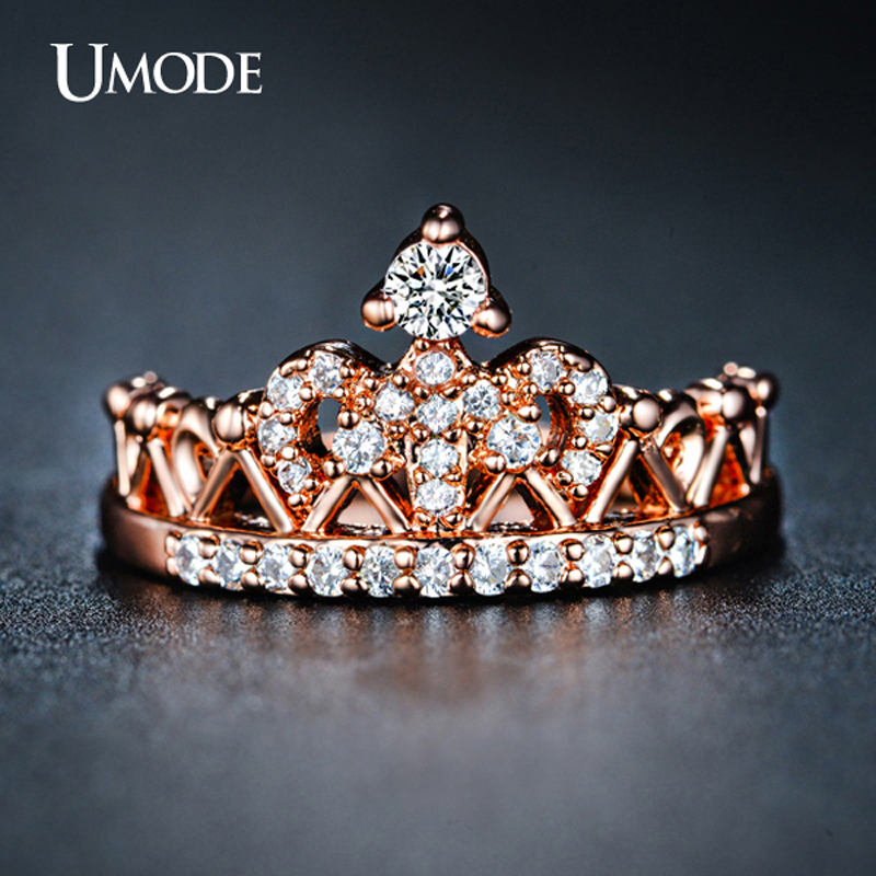 UMODE CZ Crystal Fashion Rose Gold Crown Rings For Women White Gold Engagement Ring Jewelry Anillos AUR0217