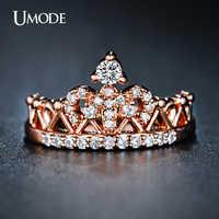 UMODE CZ cristal moda oro rosa corona Anillos para mujeres oro blanco anillo de compromiso joyería Anillos AUR0217