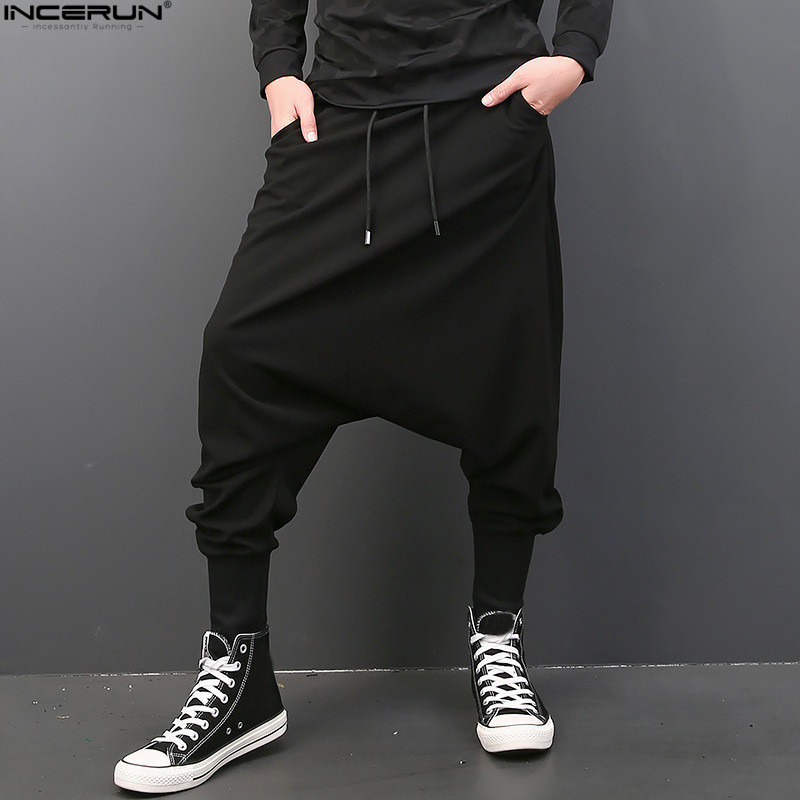 INCERUN Men Casual Solid Harem Hip Hop Pants Joggers Trousers Men Baggy Dancing Pants Gothic Punk Style Harem Pants Plus Size