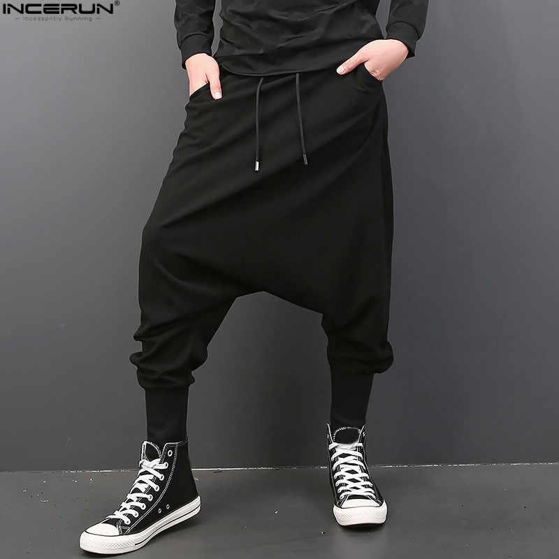 INCERUN mężczyźni na co dzień stałe Harem spodnie w stylu hip hop spodnie do biegania mężczyźni Baggy spodnie do tańca Gothic Punk Style Harem spodnie Plus rozmiar