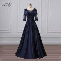 ADLN Элегантный Совок темно синие вечерние платья на заказ Сатиновые А силуэта вечерние платья с бусинами плюс размер формальное платье