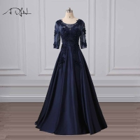 ADLN Elegant Scoop Navy Blue Evening Dresses Custom Made Satin A line Party Dress with Beads Plus Size Formal Gown