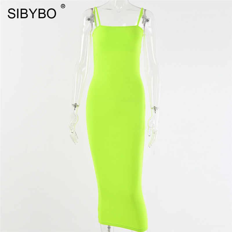 Женское длинное платье с открытой спиной Sibybo, обтягивающее платье-макси на узких лямках без рукавов и бретелек, платья черного цвета с открытыми плечами для вечеринки летом