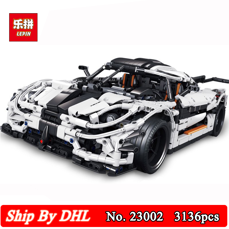 3136Pcs Lepin 23002 Technic Sports Car Series Traffic jam Model Building Blocks Kits Bricks Toy Compatible LegoINGs zhiming 851548 iq car traffic jam challenges kids intelligence toys multicolored