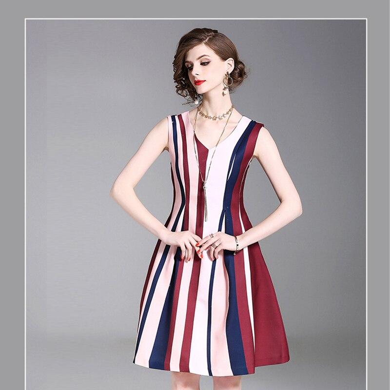 36f1d6ffdea Летнее платье в полоску Для женщин Элегантный империи с плеча до колен Длина  плиссированные v-