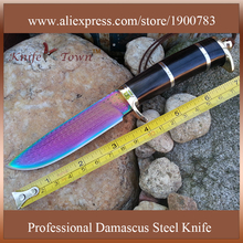DT072 Outdoor camping knife Handmade forged Damascus Steel hunting knife fixed blade knife 58HRC Ebony handle faca camping