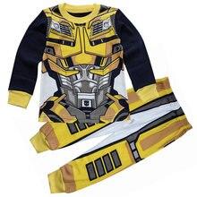 Детские пижамы для мальчиков с изображением робота; комплекты одежды для сна с длинными рукавами и героями мультфильмов для детей 1-7 лет; PT2