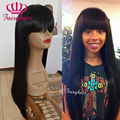 Straight hair synthetic lace front wig with bangs glueless with silk top synthetic lace front wig for black women no lace wigs