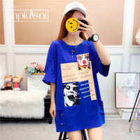 Inplusni female T shirt summer cotton Korean cartoon loose short sleeved long length printing plus size Tshirt tee women tops
