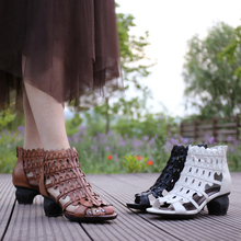 Новое поступление г. женские летние натуральная кожа Обувь на среднем каблуке женские сандалии для офиса ботинки Летняя обувь 19160-1