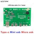 Wozniak USB линия передачи данных 3 в 1 тестер плата Tpye-c мини микро USB телефон светодиодный дисплей смарт-защита зарядное устройство тестер линия