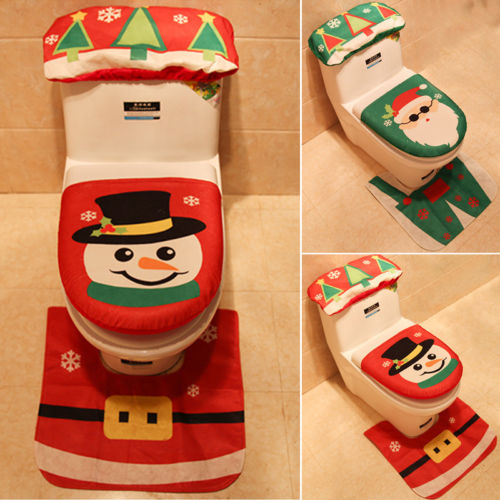Christmas Decoration Bathroom Xmas Gift Santa Claus Toilet Seat Mat Set Water Tank Cover