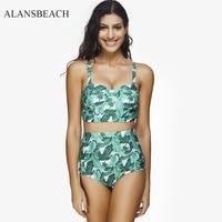 ALANSBEACH Two Piece High Waist Tankini Set Floral Swimsuit Women Swimwear Bodysuit Bathing Suit Vintage Beach