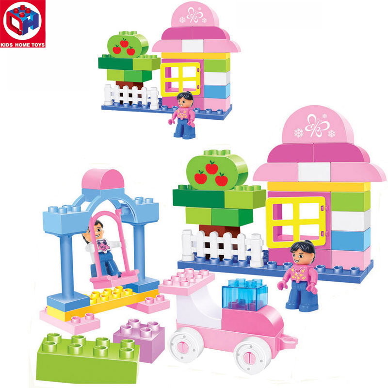Kid's Home Toy Girls Amusement Paradise 60PCS Large Size Bricks Large Particles Block DIY Toy Compatible With Duplo Original Box