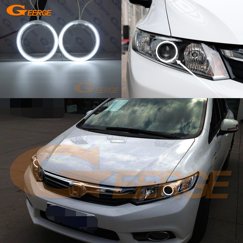 For Honda Civic Sedan 2012 2013 2014 2015 xenon headlight Excellent Ultra bright illumination CCFL angel eyes kit Halo Ring цена