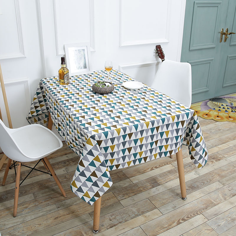 Colorful Printing Fabric Tableclothes For Rectangular Tables Cotton Linen Trigon Table Cloth For Table Decor Home Table Cover