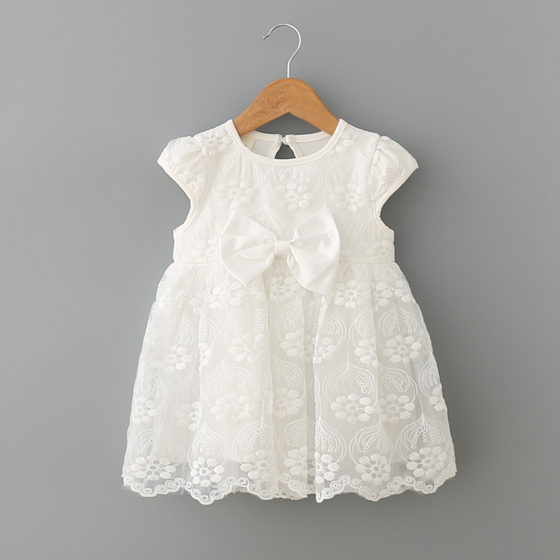 infant clothes girl summer baby girls dress Kids white first birthday one year lace Cute party dresses Newborn princess wear 50pcs lot aod496 d496