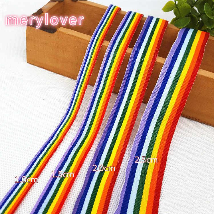 Hot koop (4 Size) regenboog streep gedrukt grosgrain linten cartoon lint DIY Kleding haaraccessoires materiaal (1 meter/partij)