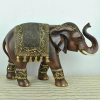 Креативное украшение Деревянный резной слон ферма Животные декоративные аксессуары для дома отель мягкий наряд слон украшения