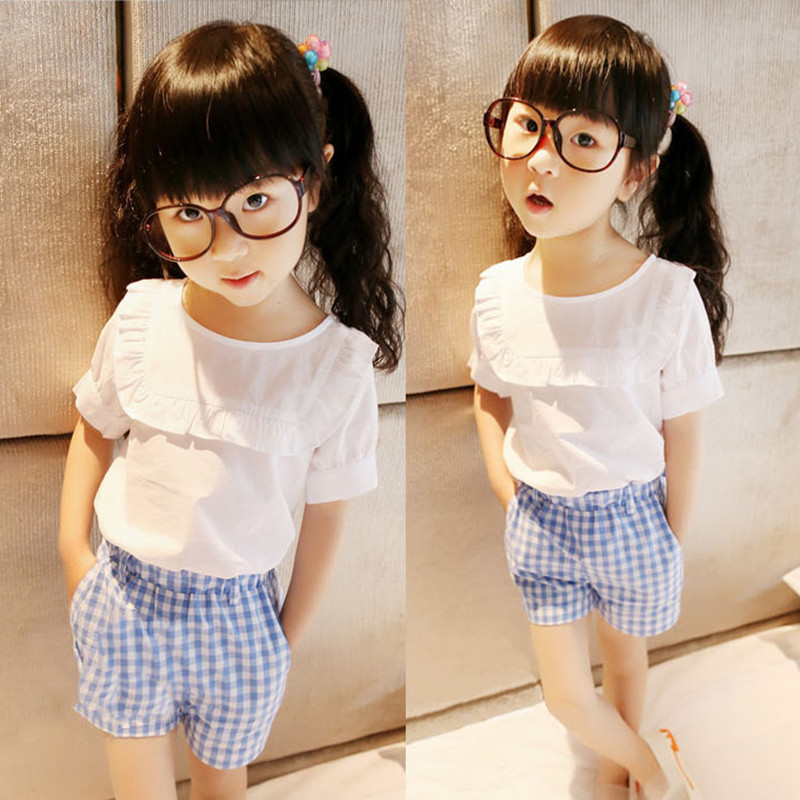 2017 Summer Korean Baby Girls Clothes Puff Sleeve White T-shirt + Blue Plaid Pants Kids Children Fashion Clothing Sets