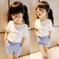 2017 Summer Korean Baby Girls Clothes Puff Sleeve White T-shirt + Blue Plaid Pants Kids Clothes Children Fashion Clothing Sets