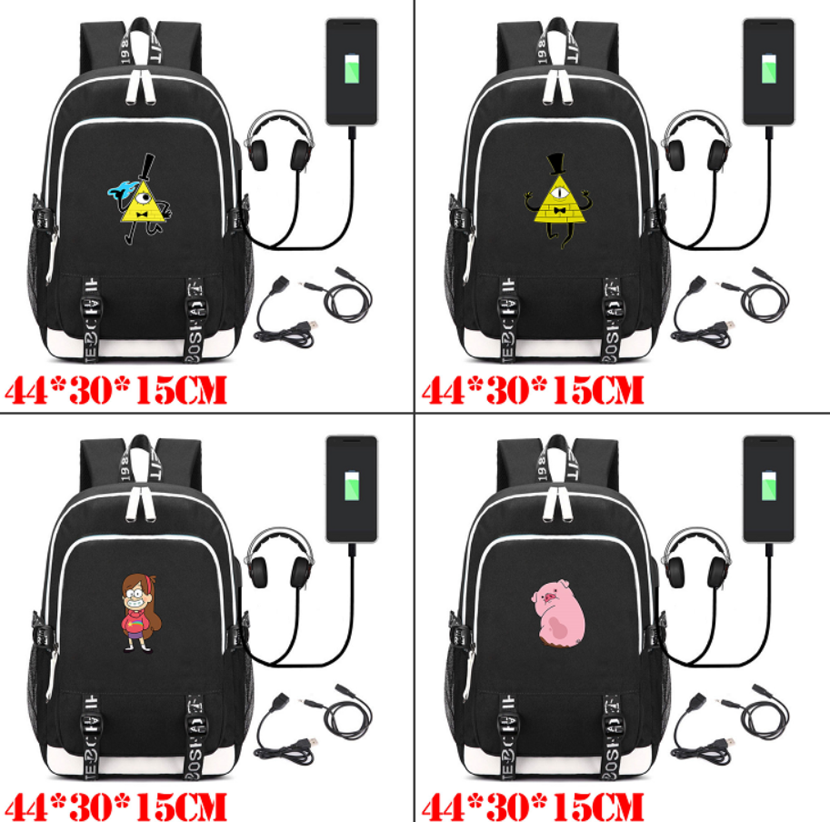 Gravity Falls Bill Cipher Canvas Backpack USB Charging School Bag Shoulder Bag Mochila Packsack Laptop Bag Rucksack Travel BagGravity Falls Bill Cipher Canvas Backpack USB Charging School Bag Shoulder Bag Mochila Packsack Laptop Bag Rucksack Travel Bag