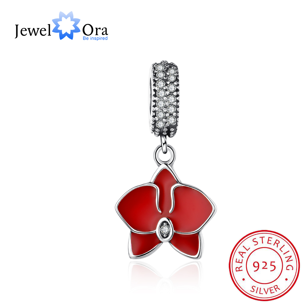Red Butterfly Flower With Cubic Zirconia 925 Sterling Silver Jewelry Components DIY Beads Charm For Bracelet (JewelOra AS101605)