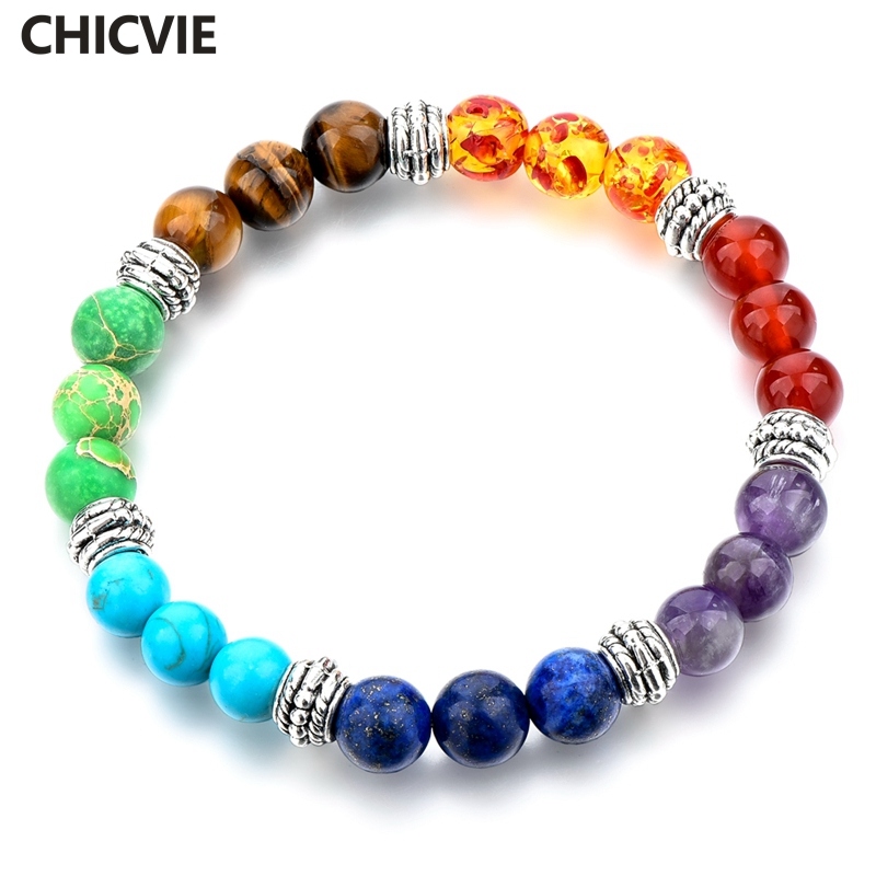CHICVIE Günstigen Preis Casual Naturstein Perlen Chakra Armband für Frauen Persönlichkeit Handarbeit Armband Eleganten Schmuck SBR160300